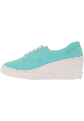 Maxstar blue 7H 5 Holes Synthetic Leather Lace Up Sneakers US Women Size MA168SH80DXFHK_1