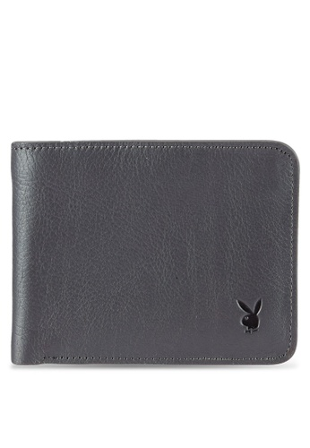 Playboy grey Playboy Bi-Fold Full Leather Wallet PL371AC0RX5HMY_1