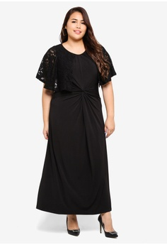 058a8cbc978 Ex otico black Plus Size Twisted Long Dress With Lace C75E6AAE1E90D7GS 1