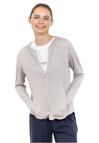 Huitieme 灰色 Huitieme 派克防紫外線中長款連帽擋風防水休閒風衣外套女 灰 7DDADAA46F4911GS_1