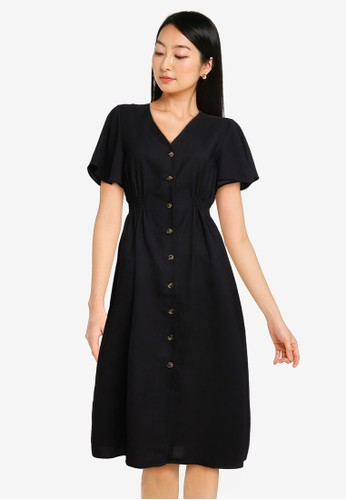 ZALORA BASICS black Side Elastic Waistband Midi Dress DDB04AA8AD4642GS_1