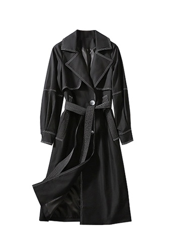 Twenty Eight Shoes black VANSA Contrast Stitch Trench Coat VCW-T9705 DECC0AA790F960GS_1