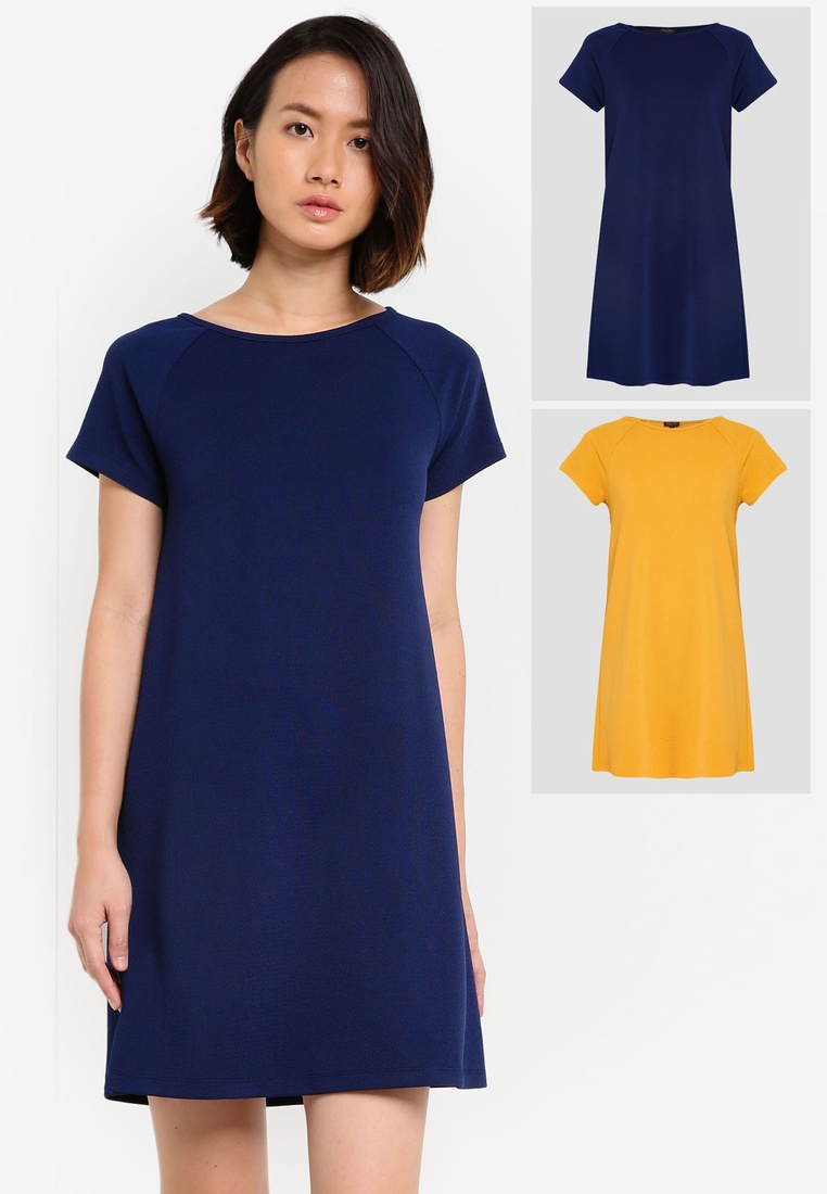 Sleeve Mustard ZALORA Essential BASICS Shift Raglan pack Navy Dress 2 pZtzTqz