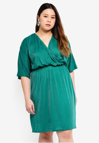 Only CARMAKOMA green Plus Size Wrap Short Sleeved Dress 66636AA8C4B3F7GS_1