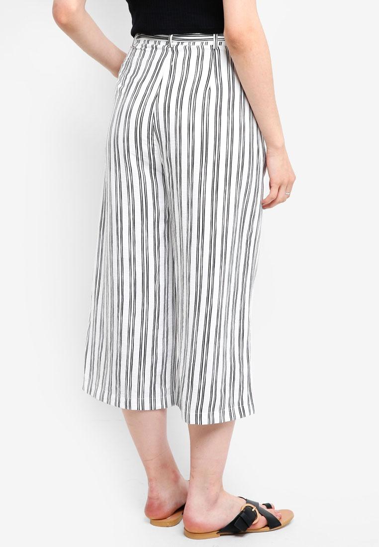 Tie Stripes Borrowed Waist Black Something Culottes gxTEOP4qw