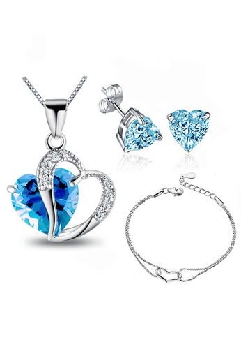 YOUNIQ silver YOUNIQ Aegean Sea 925 Sterling Silver Necklace Pendant With Blue Cubic Zirconia, Earrings and Bracelet Set A4605AC70B13E0GS_1