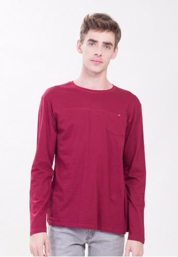 Drum red Pocket Long Sleeve Tee-Maroon 07F60AA8B9352CGS_1