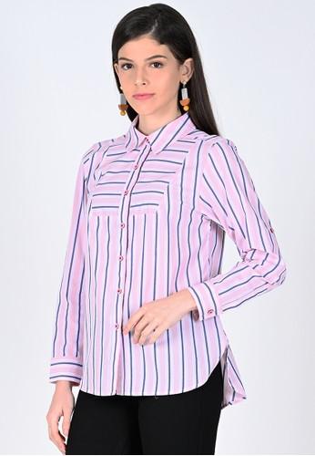 novel.mice pink Pink Stripes Shirt 010F0AAE1AEFBAGS_1