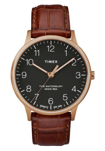 Timex brown Timex Waterbury Classic 40mm - Rose Gold-Tone Case, Brown Strap (TW2R71400) 608FCAC9C5C640GS_1
