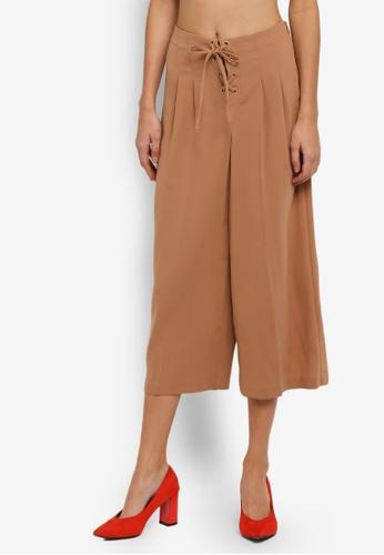 Miss Selfridge beige Camel Lace Up Wide Leg Trousers MI665AA0SIT5MY_1