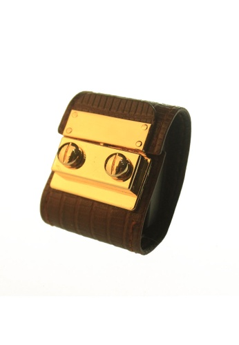 CSHEON gold and brown Secret Code Brick Brown Lizard Skin Leather Bracelet Cuff 6CAD9AC2CD0475GS_1