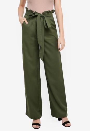 Lubna green Paperbag Trousers E5CEDAA6E15365GS_1