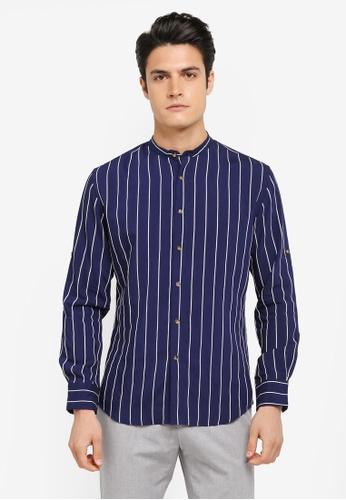 ZALORA navy Striped Lightweight Long Sleeve Shirt B8C34AA8B795A3GS_1