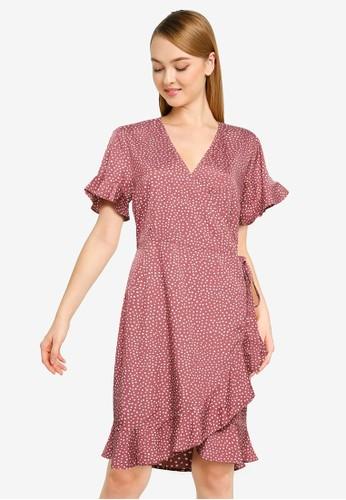 Vero Moda purple Henna Wrap Frill Dress 32AC2AAFF76A12GS_1