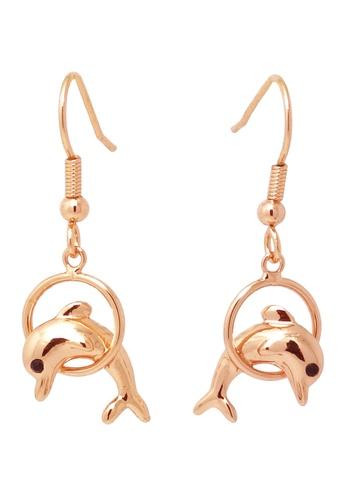 Jaysa Collection gold Dolphin Leap Rose Gold Earrings JA875AC0FJTZSG_1