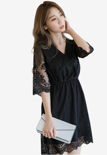 Eyescream black Lace Wrap Dress E5C12AAB2E1CA8GS_1