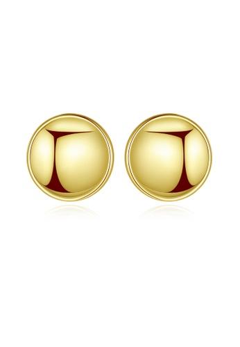 SUNRAIS gold High quality Silver S925 gold round earrings B6030ACC6C357FGS_1