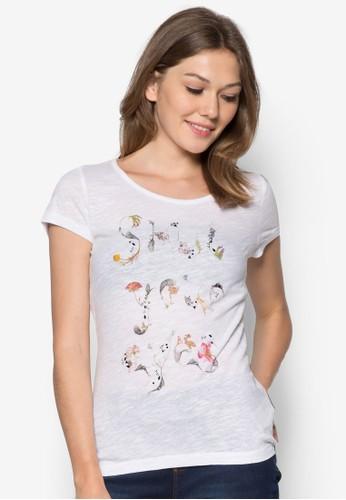 碎花文字印花Tesprit china 恤, 服飾, T恤