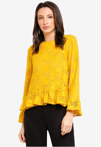 Zalia yellow Frill Details Lace Top 83D62AA85EA704GS_1