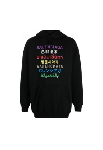 Balenciaga black Balenciaga Languages Medium Fit Hoodie in Black/Multicolor 3E965AA2E671D3GS_1