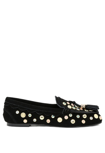 RAG & CO black Handcrafted Metallic Studded Leather Loafers with Tassel RCSH1672 6EE24SH794713AGS_1