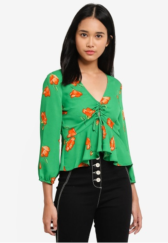 TOPSHOP green Floral Print Keyhole Blouse 4946FAA5116136GS_1