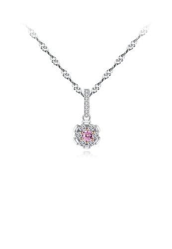 Glamorousky pink 925 Sterling Silver Fashion and Simple Geometric Pendant with Cubic Zirconia and Necklace A315EACBD08DF7GS_1