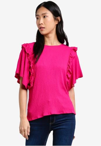 Mango pink Textured Ruffled Blouse MA193AA0RXSIMY_1