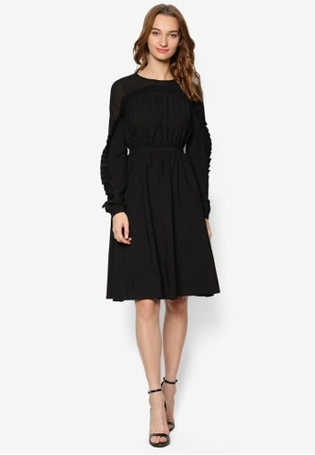Tazesprit 台北min 荷葉飾長袖洋裝, 服飾, 洋裝