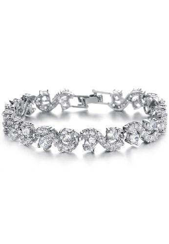 YOUNIQ white YOUNIQ White Diamondate CZ Platinum Plated Silver Bracelet F3189ACF58B9C7GS_1