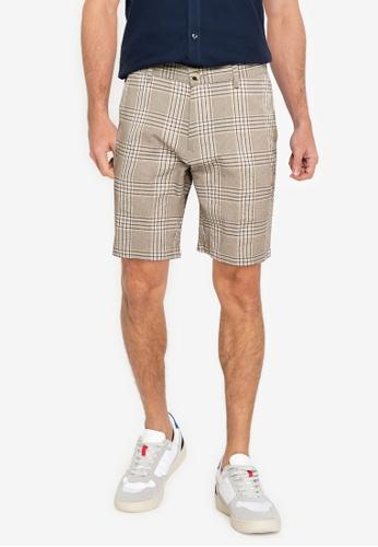 Ben Sherman beige Seersucker Check Shorts FAD50AAF84099FGS_1