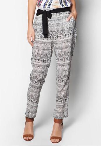 Mousse 黑色繫帶印zalora 衣服尺寸花長褲, 服飾, 直腳褲