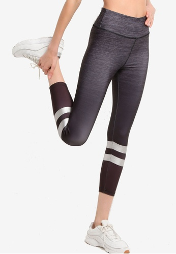 LC Waikiki black Stripe Ankle Length Active Sport Leggings 3FB38AA5F3A3CCGS_1