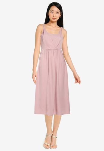 ZALORA BASICS pink Overlap Front Fit & Flare Dress 10F29AADDF169BGS_1