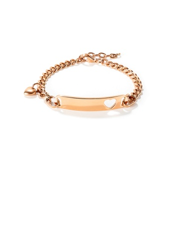 Glamorousky silver Simple and Fashion Plated Rose Gold Hollow Heart-shaped Geometric Rectangle 316L Stainless Steel Bracelet 834C0ACF4581C5GS_1