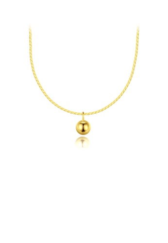 Glamorousky silver 925 Sterling Silver Plated Gold Simple Fashion Geometric Round Bead Pendant with Necklace B496AACD6E8E22GS_1