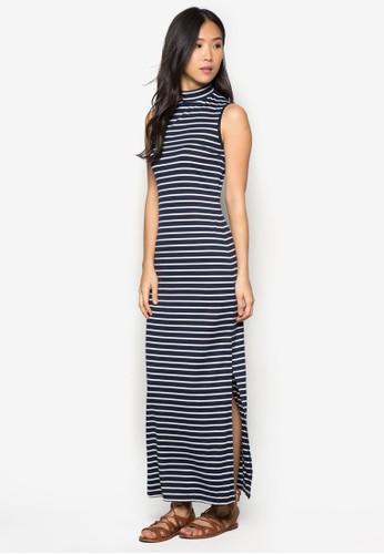 側開衩高領條紋連身長裙, 服飾, 服zalora退貨飾