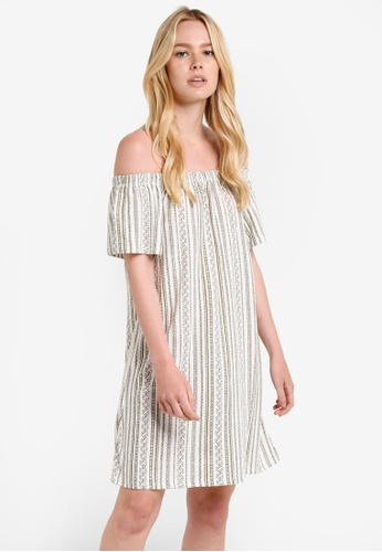 TOPSHOP green Stripe Bardot Mini Dress TO412AA14RHPMY_1