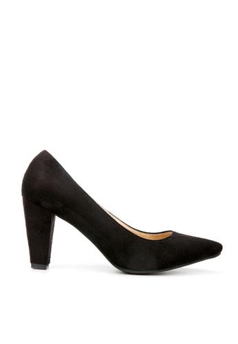 KissXXX 黑色 久走不累厚粗跟美腿效果8CM尖頭高跟鞋 KI603SH09MS4TW_1