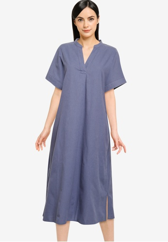 GLOBAL WORK blue Shift A-Line Dress 7E9A5AA27BC7B9GS_1
