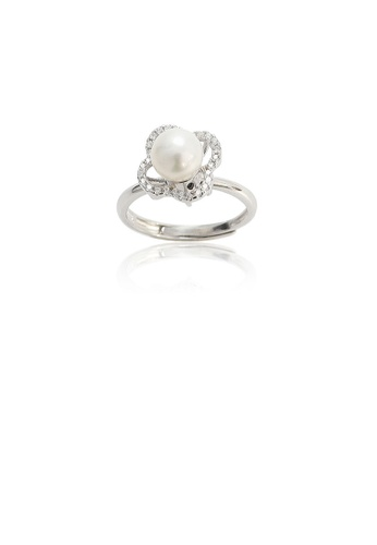 Glamorousky white 925 Sterling Silver Fashion Simple Flower Freshwater Pearl Adjustable Ring with Cubic Zirconia 174DBAC155814CGS_1