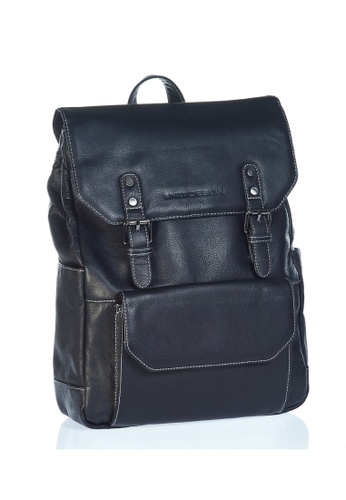 ENZODESIGN black Urban Light Pebble Grained Leather Backpack EN357AC0FQ8BSG_1