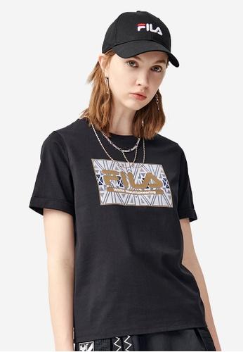 FILA black FILA x White Mountaineering Ethnic Print Logo Cotton T-shirt A7A2AAAC4DAE62GS_1