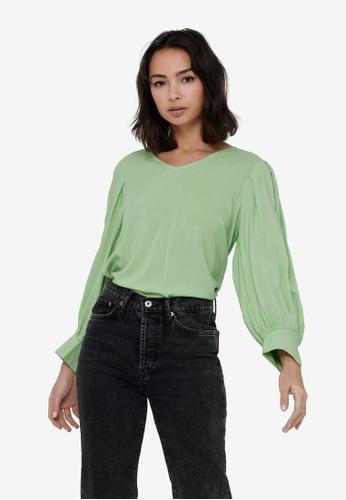ONLY green Nova Life 4/5 V-neck Top 914F2AAE898F90GS_1
