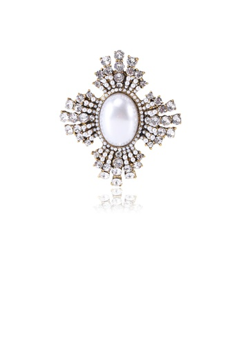 Glamorousky white Elegant Vintage Plated Gold Geometric Pattern Imitation Pearl Brooch with Cubic Zirconia C1C62ACA011E49GS_1