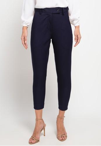 KORZ navy Slim Fit Ankle Length Pants BA59DAA69E3736GS_1