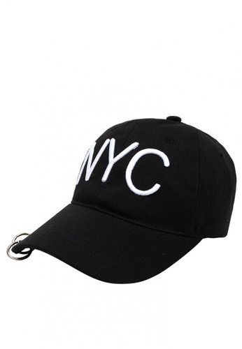 Cap City International black Cap City Korean Style with NYC Letter and 2  Ring Pierce Design aeea1975732