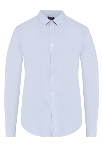 Topman blue Light Blue Muscle Fit Textured Shirt TO413AA0S5LOMY_1