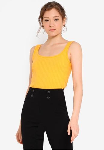 Miss Selfridge orange Ribbed Picot Vest F799BAA76EAE62GS_1