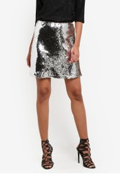 Dorothy Perkins silver Petite Silver Sequin Skirt DO816AA0SB7DMY_1